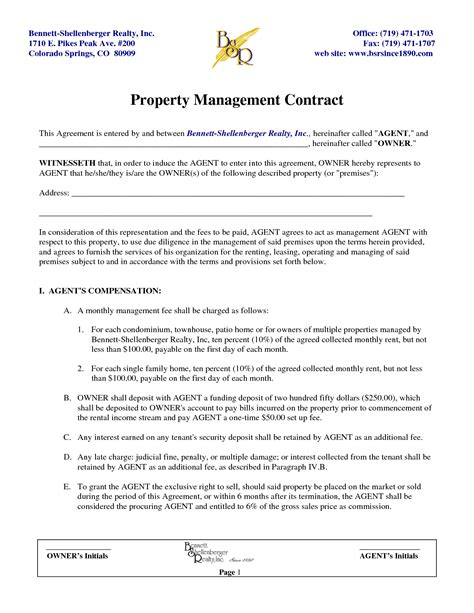 rental management agreement template rental management agreement template 28 images free