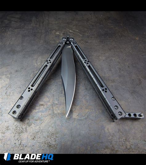 hom design basilisk elite balisong butterfly knife pvd ti