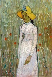 peasant against a background of wheat peasant with straw hat sitting in the wheat