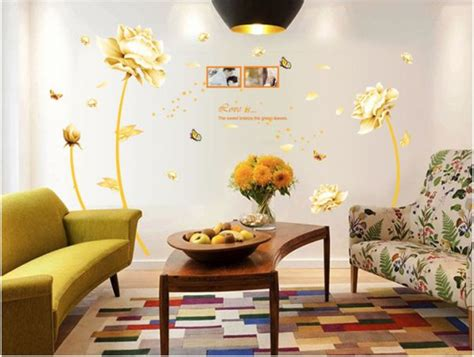 Wall Paper Wall Sticker Photo Wall Tulips 8 900 golden flower 3d wall sticker home decor tulip wall decal for living room wallpaper