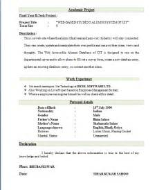 best resume format for freshers
