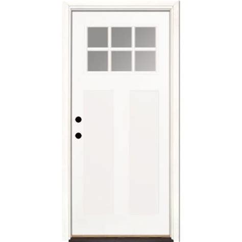 Fiberglass Exterior Doors Home Depot Feather River Doors 36 In X 80 In 6 Lite Clear Craftsman Unfinished Smooth Fiberglass Prehung