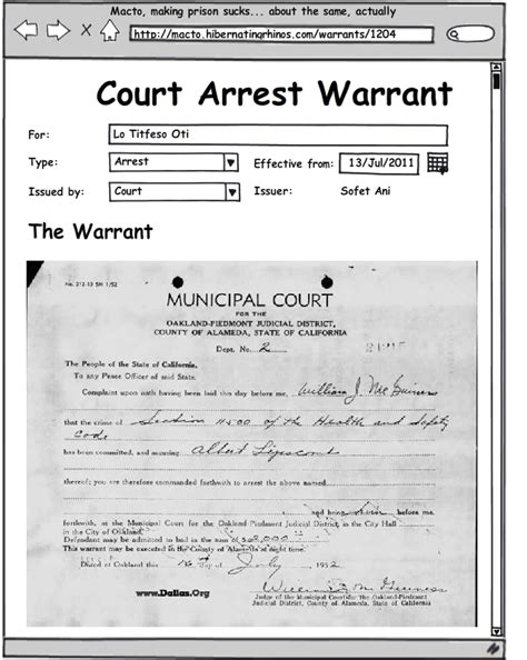 Search Warrant For Arrest Pin Arrest Warrant Template Image Search Results On
