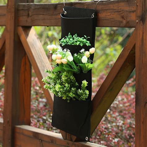 Balcony Hanging Planter by 4 Pockets Vertical Wall Mounted Garden Balcony Hanging