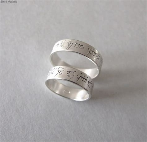 two silver elven rings wedding bands lord of ther