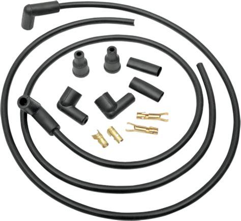 drag specialties black mm spark plug  wire set harley davidson fl fx xl jts cycles