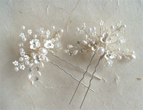 Set Of 2 Flower Hair Comb set for 2 bridal hair pins ivory flower pearl hair comb