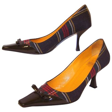 Cheap Or Chic Challenge Patent Ankle Wedges by Mad For Plaid 1990 S Moschino Wool Pumps With Gray Patent