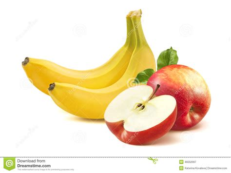 apple banana banana and apple on white background stock image image