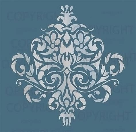 Large Wall Damask Stencil Pattern Faux Mural 1010 Ebay Ornament Stencil Template