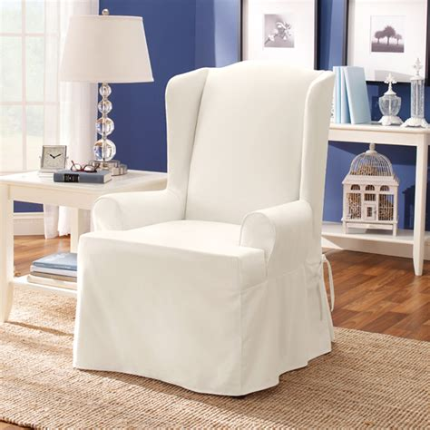 wing chair slipcover white surefit furniture slipcovers