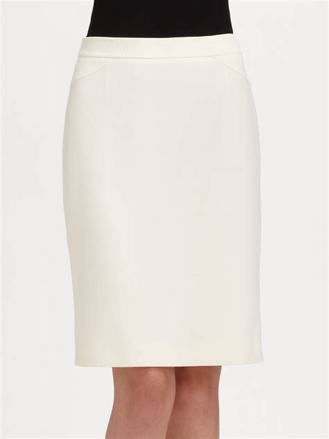 armani wool crepe pencil skirt in white white lyst