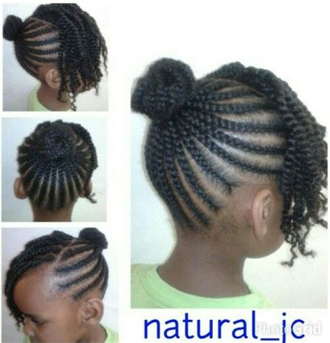 images of black braided bunstyle with bangs in back hairstyle cornrowed bun twisted bangs natural kids cornrow buns