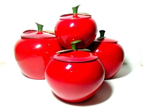 set of 4 apple canisters aluminum metal apple shaped