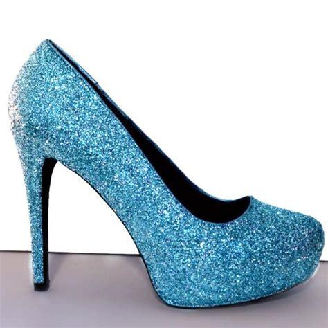 blue sparkly high heels womens cinderella blue sparkly glitter heels pumps wedding