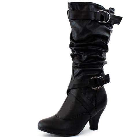 mid calf high heel boots new womens mid calf faux leather black high heel