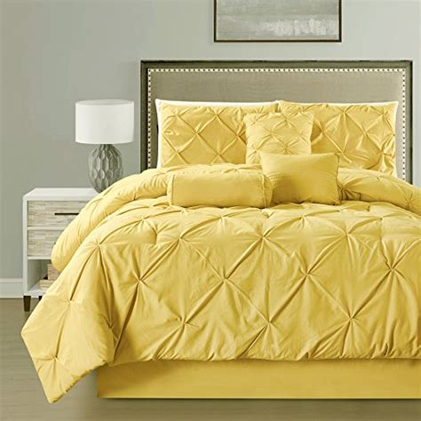 solid yellow comforter 7 pieces double needle stitching pinch pleat solid yellow