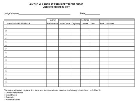 8 free sle talent show score sheet templates sles
