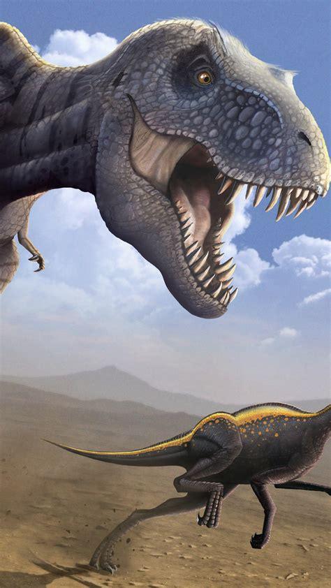 wallpaper tyrannosaurus ornithomimus dinosaur art art
