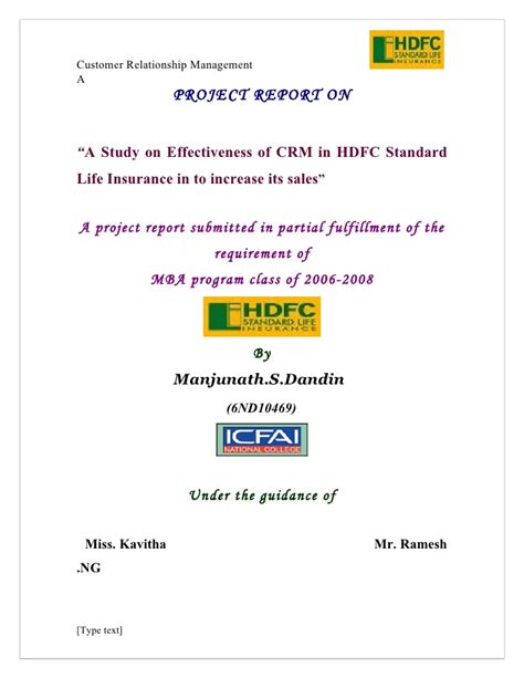 Mba Project Hdfc Standard Insurance by A Study On Effectiveness Of Crm In Hdfc Standard