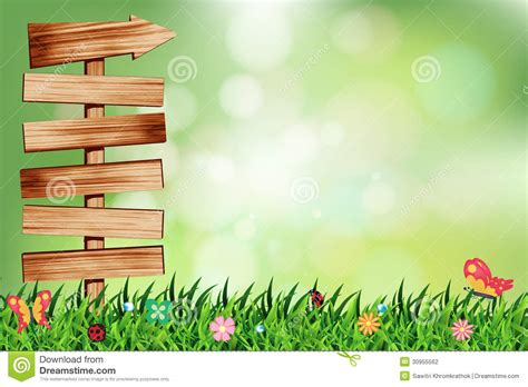 background design of nature vector natural green background with wood signboar stock