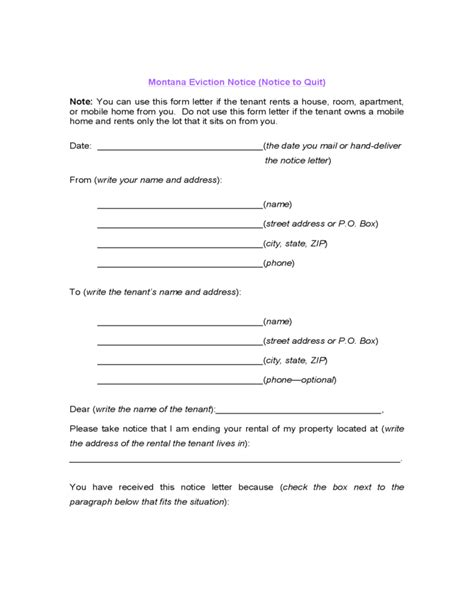 Montana Eviction Notice Notice To Quit Free Download Montana Eviction Notice Template