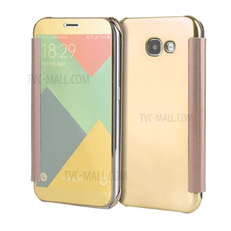 Flip Mirror Samsung Galaxy A7 2017 Berkualitas smart flip view mirror plated mobile casing pc pu leather for samsung galaxy a7 2017 gold