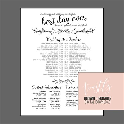 Editable Wedding Timeline Edit In Word Phone Numbers And Call Anyone But The Free Template