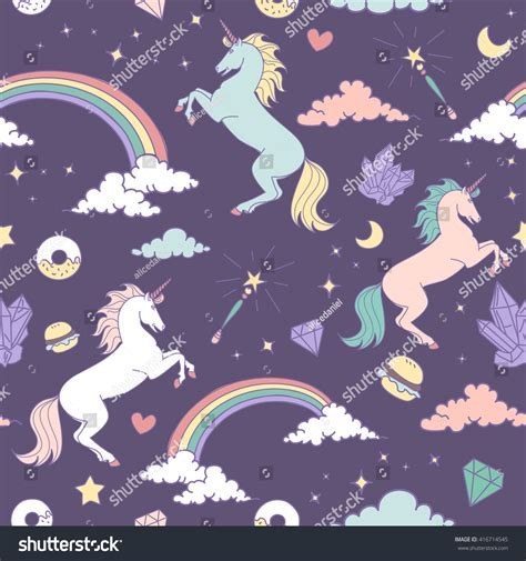 pattern magic italiano magic seamless pattern unicorn rainbow stars stock vector