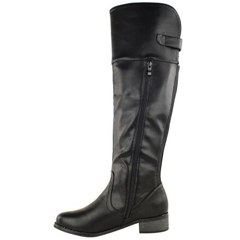 womens boots wide womens flat knee high stretch wide boots leg