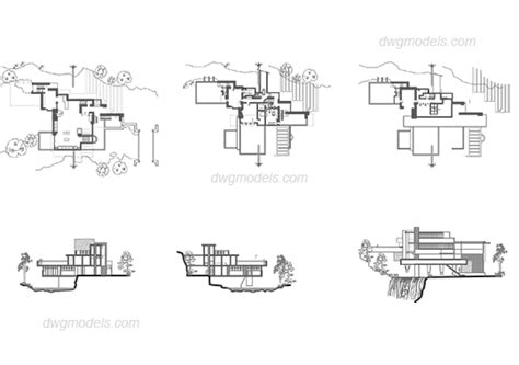 House Plans Blueprints by Frank Lloyd Wright Fallingwater Dwg Free Cad Blocks Download