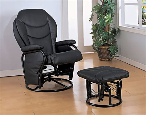 gliding rocker with ottoman glider rocker with round base ottoman in black leatherette