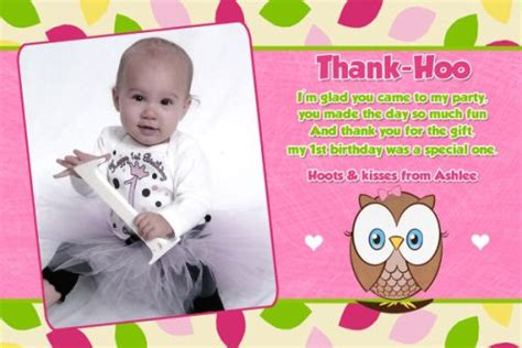 1st Birthday Thank You Card Wording Owl First Birthday Thank You Card Or Invitation