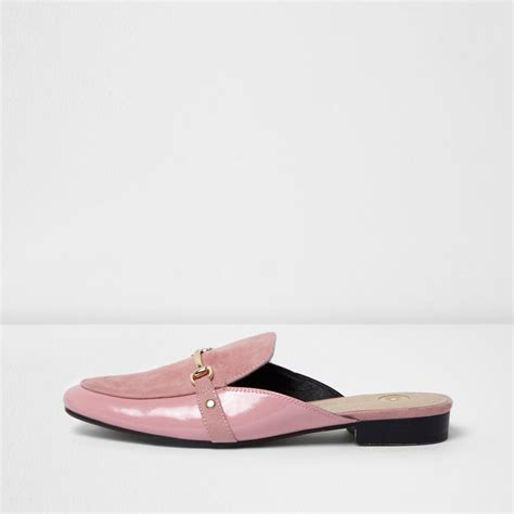 backless loafers river island pink chain backless loafers in pink lyst