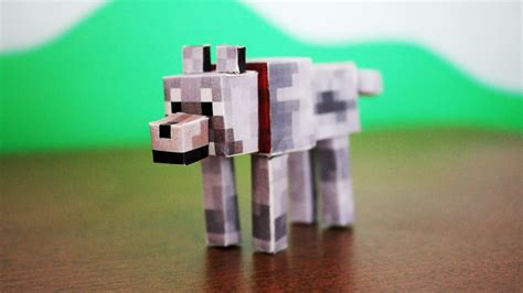 Papercraft Minecraft Wolf - how to make a minecraft paper wolf