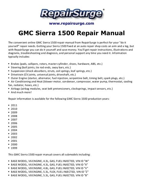 service manual repair manual for a 1996 buick hearse gmc sierra 1500 repair manual 1999 2011
