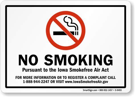 no smoking sign called iowa no smoking signs sku s 9493