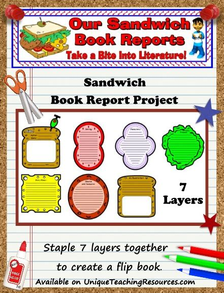 Story Sandwich Book Report by Sandwich Book Report Project Templates Printable Worksheets And Rubric