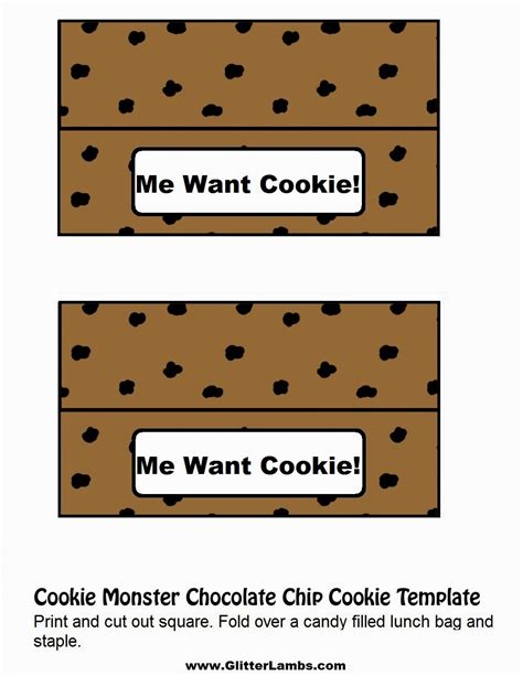 Glitter Lambs Cookie Monster Food Label Cards And Free Printable Chocolate Chip Cookie And Milk Cookies Label Template