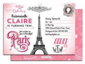 printable paris birthday party invitation