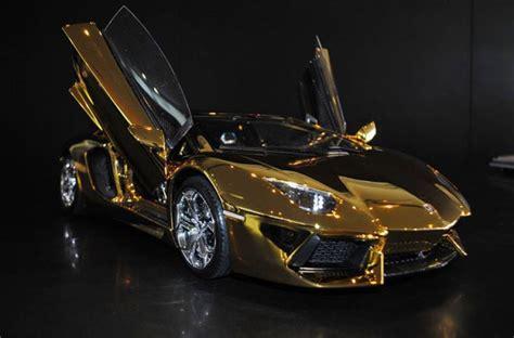 In pictures: Gold Lamborghini Aventador on show in UAE