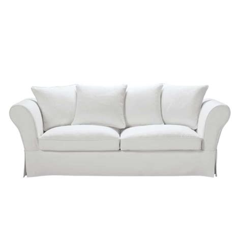 cotton sofas 3 4 seater cotton sofa bed in ivory roma maisons du monde