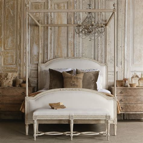 four poster canopy wood bed frame with antique white four