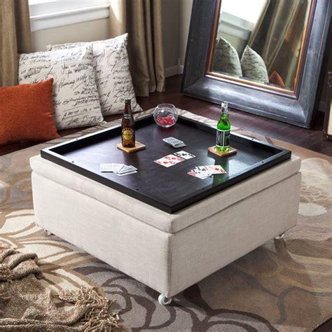 corbett linen coffee table storage ottoman storage