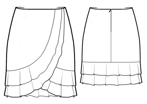 drawing pattern for sewing skirt with asymmetrical flounces sewing pattern 7073