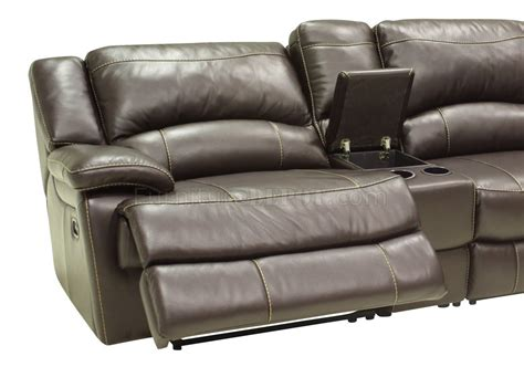 Contemporary Sofa Recliner Mahogany Leather 4pc Modern Sectional Reclining Sofa