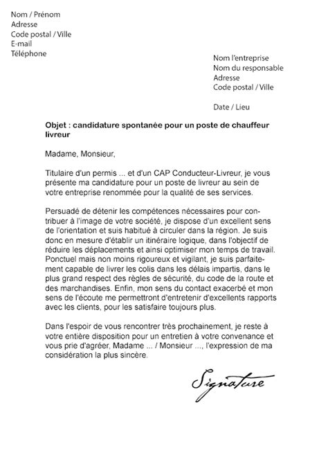 Exemple De Lettre De Motivation Transport Lettre De Motivation Chauffeur Livreur Mod 232 Le De Lettre