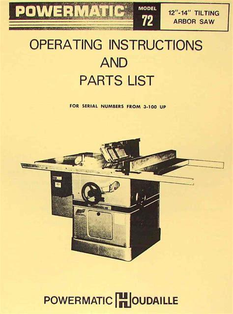 powermatic 72 arbor table saw operator parts manual