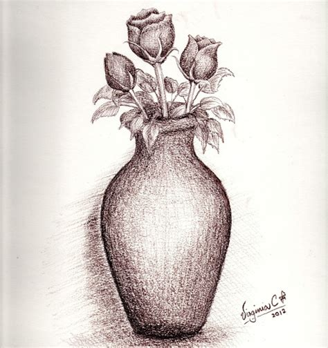 imagenes de jarrones a lapiz dibujo pincelar