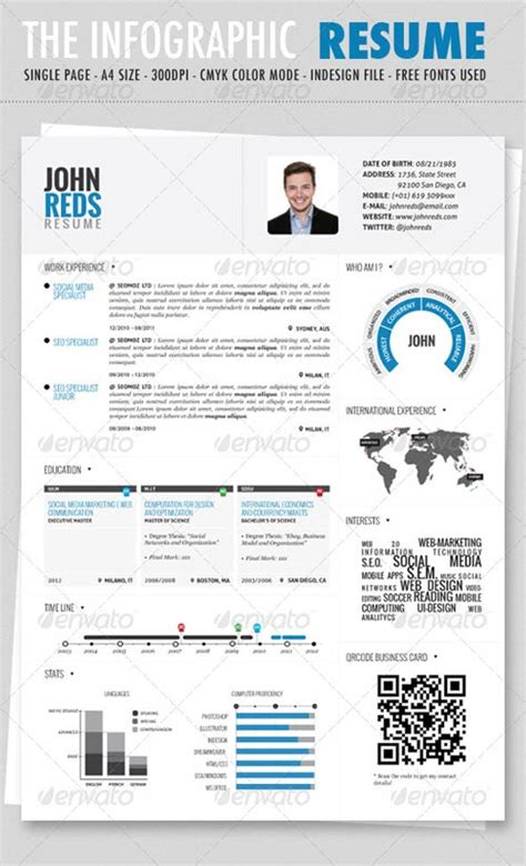 infographic resume template psd graphicriver clean infographic resume